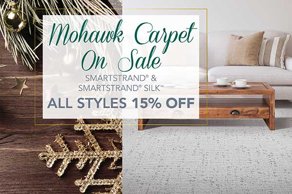 Home for the Holidays Sale going on now only at Abbey Carpet & Floor of Hawthorne! Mohawk carpet on sale – SmartStrand and SmartStrand Silk – All styles 15% off