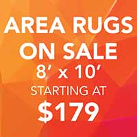 Area rugs on sale during our Gold Tag flooring sale. 8' x 10' rugs starting at $179 at Abbey Carpet and Floor of Hawthorne