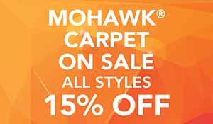 Gold Tag Carpet Sale! Mohawk carpet on sale 15% off.